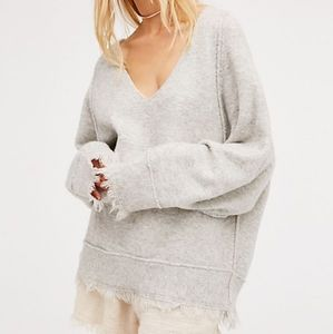 Free People Irresistible V Neck Sweater Sm Gray
